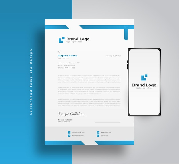 Blauwe zakelijke briefhoofdsjabloon met moderne stijl en smartphone
