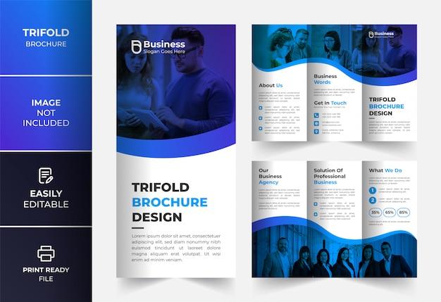 Blauwe zakelijke driebladige brochure ontwerpsjabloon