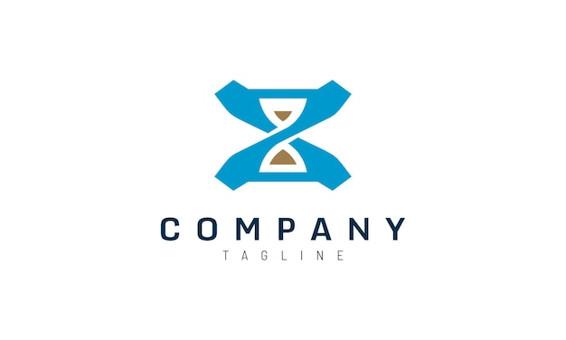 Blauwe zandloper logo sjabloon voor merk bedrijfsidentiteit