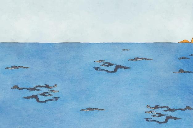 Blauwe zee achtergrond vector kunst print, remix van kunstwerken van george barbier