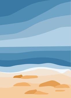 Blauwe zee en zandstrand