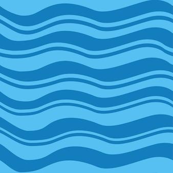 Blauwe zee golven patroon platte vectorillustratie.