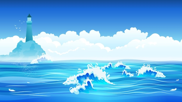 Blauwe zee golven vuurtoren hemel wolken illustratie