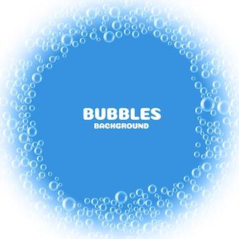Blauwe zeep of waterbellenachtergrond