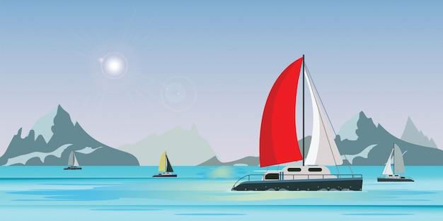 Blauwe zeezicht met jacht van het luxe het varende schip in het overzees op de achtergrond van de meermening