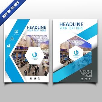 Blauwe zeshoek jaarverslag zakelijke ontwerpsjabloon