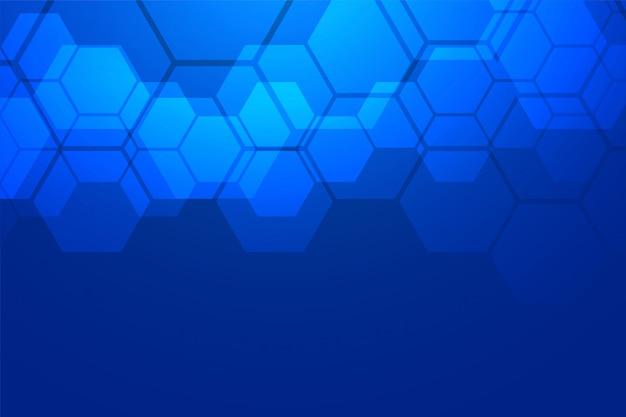 Blauwe zeshoekige achtergrond