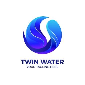 Blauwe zoetwater 3d logo vector sjabloon