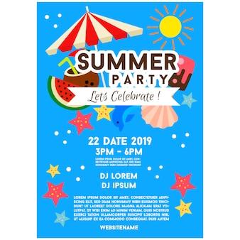 Blauwe zomer partij poster sjabloon illustratie