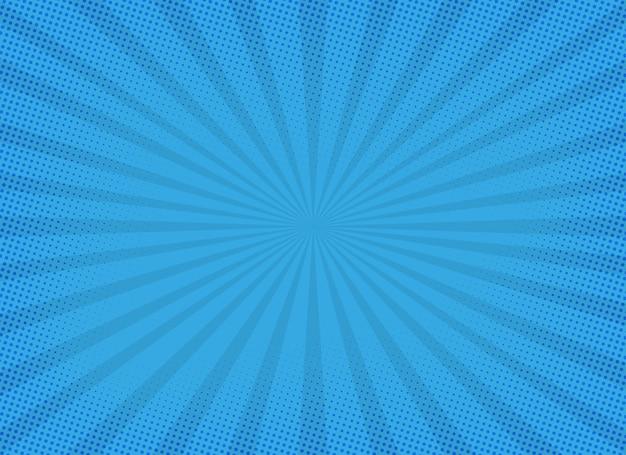 Blauwe zonnestraalachtergrond met halftone effect