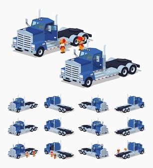 Blauwe zware 3d lowpoly isometrische vrachtwagen
