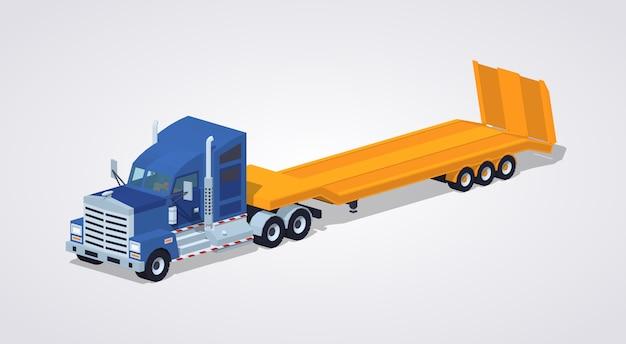 Blauwe zware vrachtwagen met gele dieplader