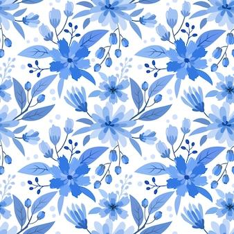 Blauwe zwart-wit bloem ontwerp naadloze patroon.