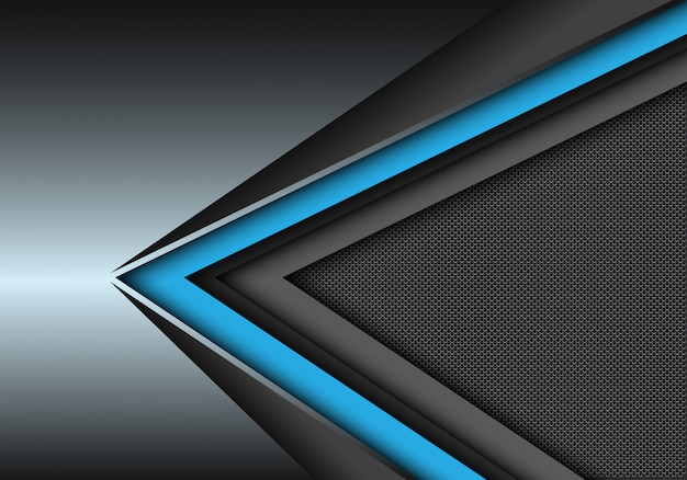 Blauwe zwarte snelheidsrichting op metaal met de achtergrond van het cirkelnetwerk.