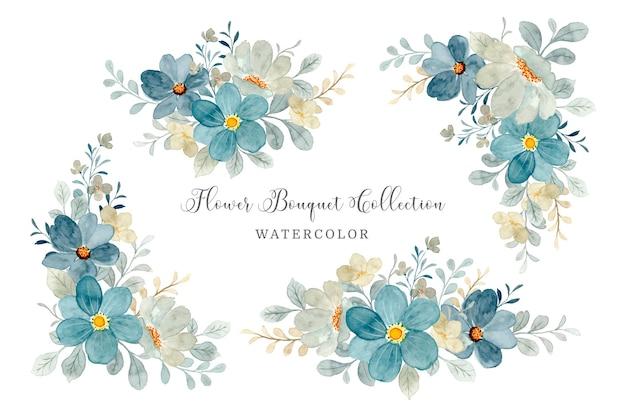 Blauwgrijze bloemboeketcollectie met waterverf Premium Vector