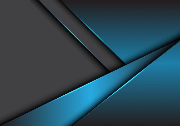 Blauwgrijze metalen overlapping op donkere lege ruimteachtergrond.