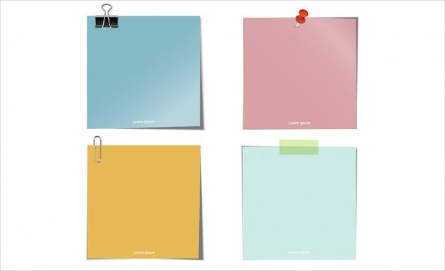 Blauwgroen geel roze postnotitie met clip paperbinder clip thumbtack en plakband