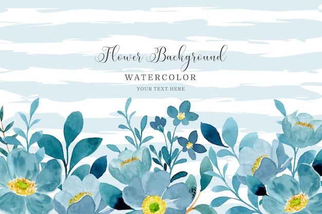 Blauwgroene bloemenachtergrond met waterverf