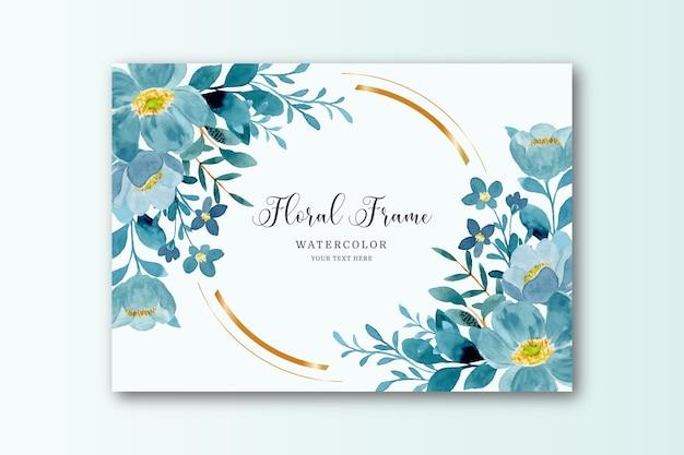 Blauwgroene bloemenkaderkaart met waterverf
