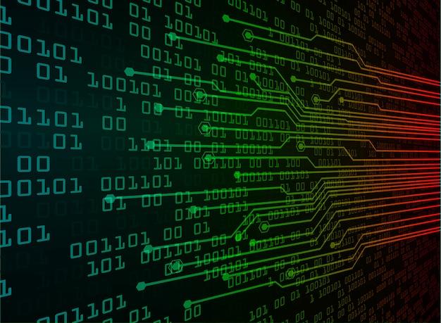 Blauwgroene rode binaire cyberkring toekomstige technologieachtergrond
