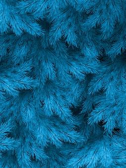 Blauwgroene takken van een bont-boom, een spar of een den met copyspace.