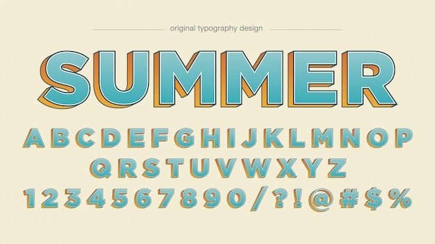 Blauworanje vette typografie
