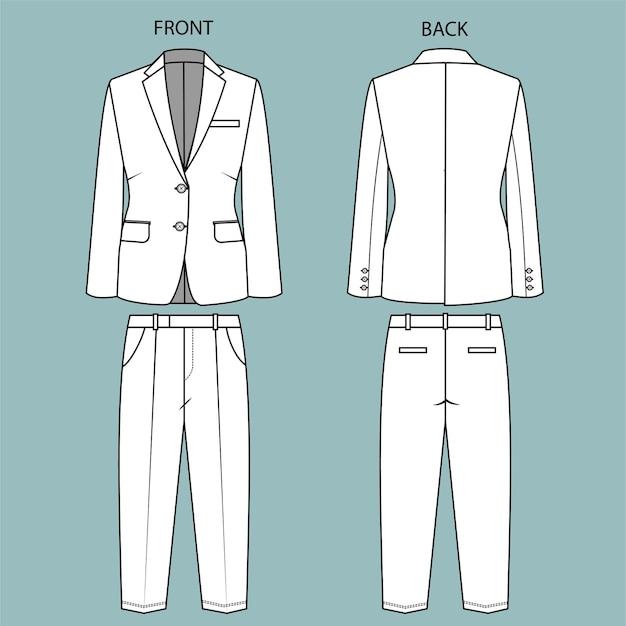 Blazer en broek voor- en achteraanzicht. kantoorkleding outfit. mode platte schets sjabloon