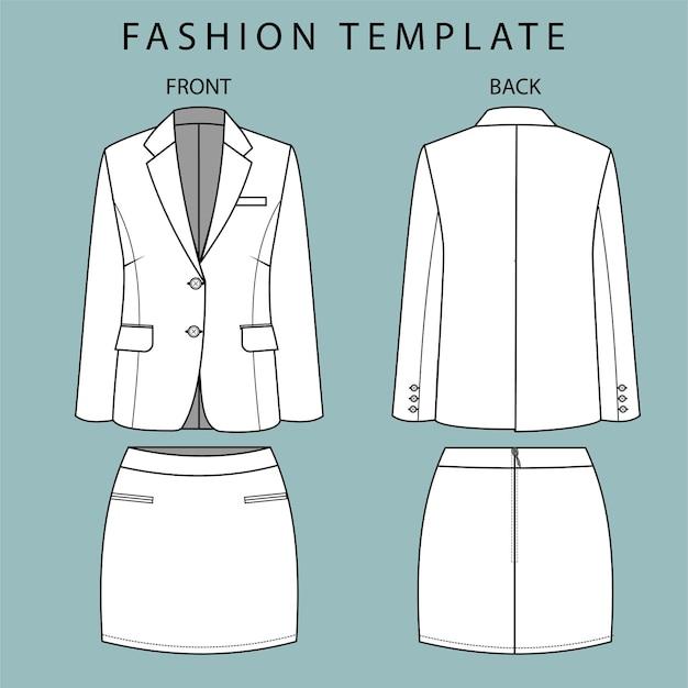 Blazer en rok voor- en achteraanzicht. kantoorkleding outfit. mode platte schets sjabloon
