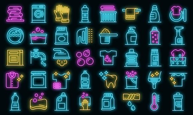 Bleekmiddel pictogrammen instellen. overzicht set van bleekmiddel vector iconen neon kleur op zwart