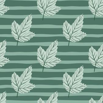 Bleke naadloze patroon met grijze omtrek blad silhouetten.