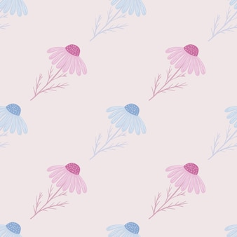 Bleke pasteltinten naadloos patroon met handgetekende blauwe en roze kamille bloemen print