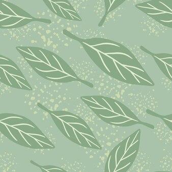 Bleke tinten naadloos patroon met willekeurige eenvoudige bladerenvormen