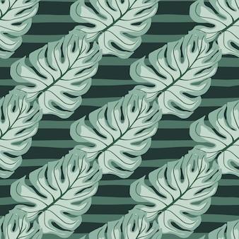 Bleke tinten naadloze patroon met blauwe monstera bladeren vormen. groene gestreepte achtergrond. decoratieve achtergrond voor stofontwerp, textieldruk, inwikkeling, omslag. vector illustratie.