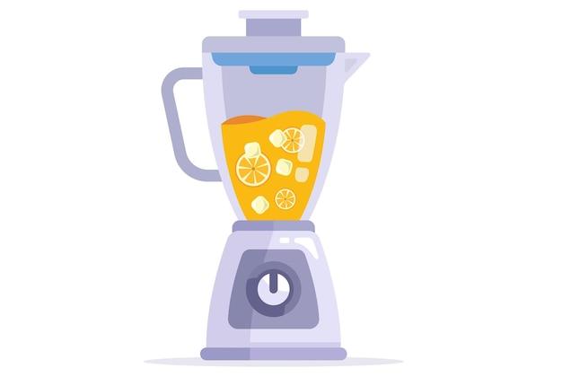 Blender maakt een vitamine-smoothie. platte vectorillustratie.