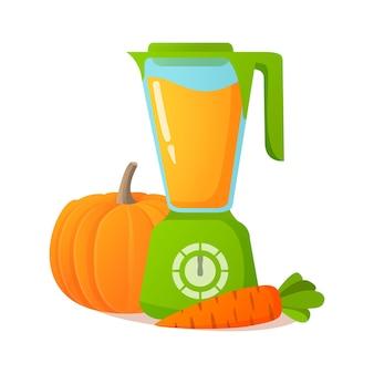 Blender met smoothie groenten van pompoen, wortel. keukenapparatuur. een dieetdrank maken voor vegetariërs en veganisten.