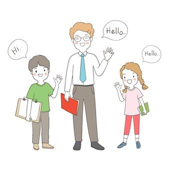 Blij een jongen, een meisje en een leraarsgroet zeggen hallo hallo