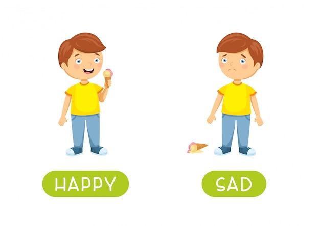 Blij en verdrietig kind