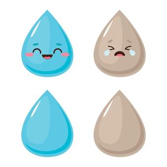 Blij en verdrietig waterdruppel karakters. schoon en vuil water concept vectorillustratie
