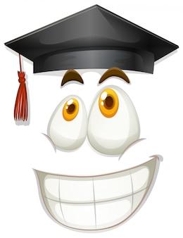 Blij gezicht met afstuderen pet