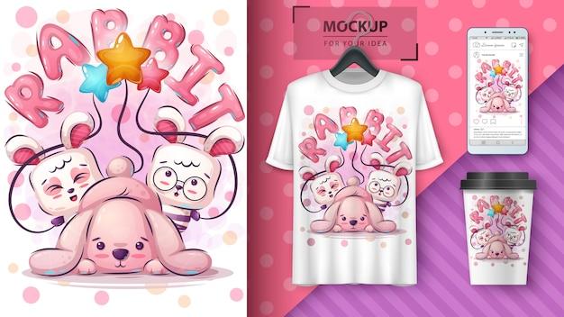 Blij konijn poster en merchandising
