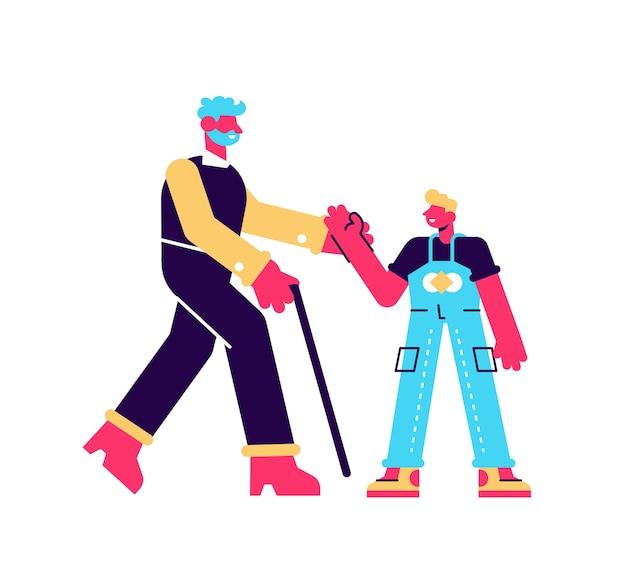 Blij meisje en grootvader plezier samen vlakke afbeelding. gelukkig kleinkind rennen en knuffelen, bezoek lachende opa geïsoleerd op wit. familie genieten van ontmoeting