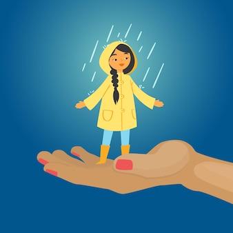 Blij meisje in regen, blauwe achtergrond, gelukkige, kleurrijke herfstdag, kind zonder paraplu, illustratie. mens op straat, glimlachend meisje in laarzen, gele mantel, regenachtig weer.