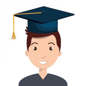 Blij persoon afstuderen ontwerp