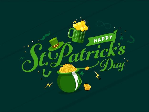 Blij st. patricks dag kaart leprechaun hat, gouden munten pot en bier mok op groen