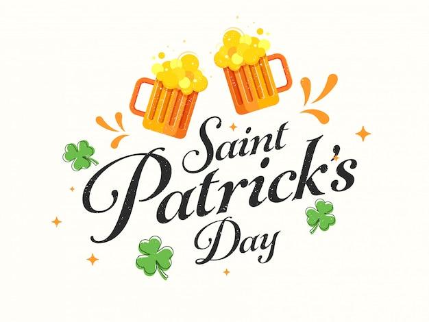 Blij st. patricks dag kaart met cheers bier mokken en shamrock leaves op wit