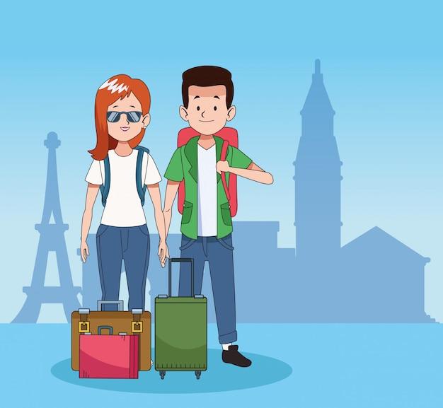 Blij toeristen en reisontwerp