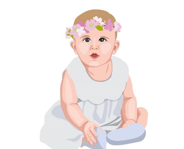 Blije baby in witte jurk en sokken met bloemenkroon op het hoofd. lachend en verwonderd