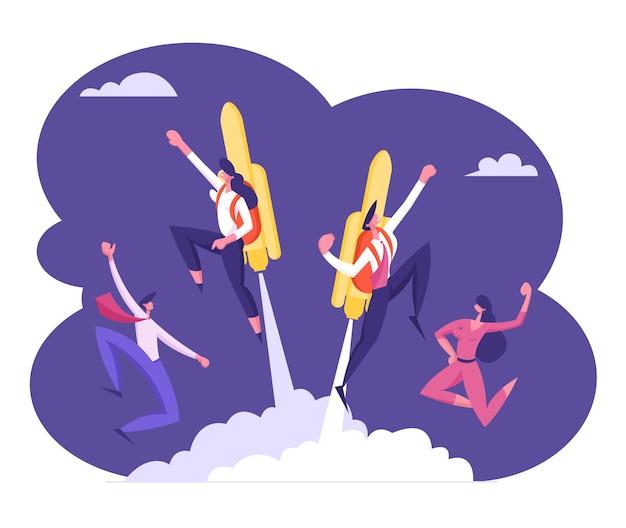 Blije collega's zien een paar vrolijke zakenmensen vliegen met jet pack