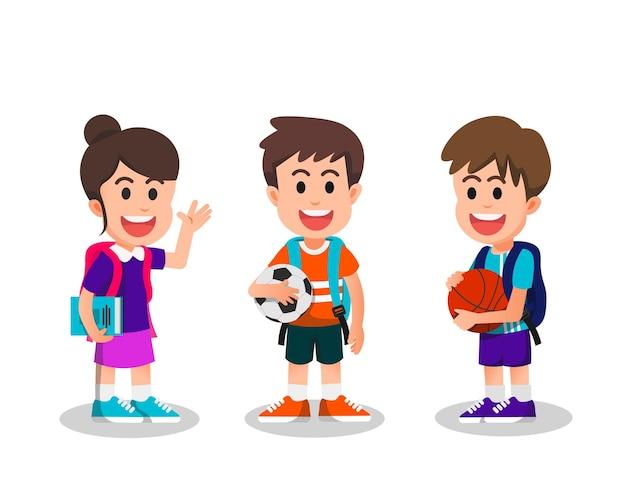 Blije en schattige kinderen gaan naar school
