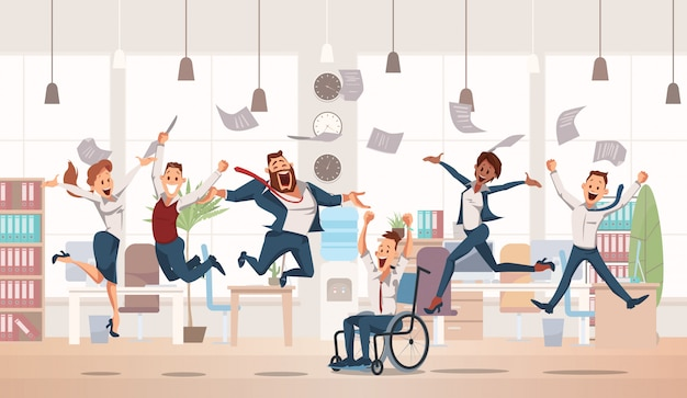 Blije kantoormedewerkers springen omhoog. office fun.